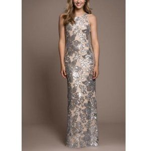 BETSY & ADAM ILLUSION SEQUIN FLOWER GOWN 2P